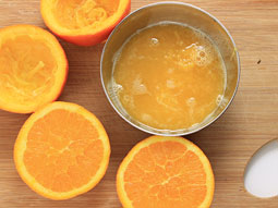 orange juice with pulp pulpy juice of fresh and natural oranges
