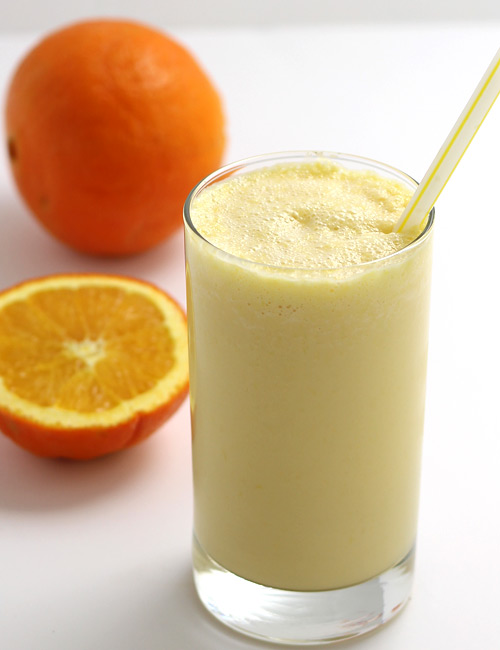 Orange Milkshake with Almond Milk and Ice Cream