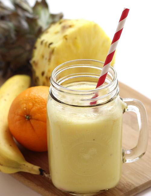 Pineapple Smoothie with Banana and Yogurt